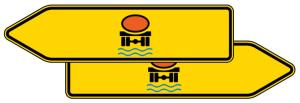 Verkehrszeichen 421-42 StVO, Pfeilwegweiser für Fahrzeuge mit wassergef. Ladung, doppelseitig (Folie/Form: RA1/Flachform 2mm (Art.Nr.: 421-42-111))