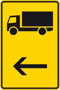 Verkehrszeichen 422-10 StVO, Wegweiser für KFZ m. einer zul. Gesamtmasse über 3,5 t (hier li.) (Maße/Folie/Form:  <b>630x420mm</b>/RA1/Flachform 2mm (Art.Nr.: 422-10-111))