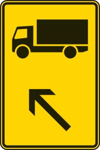 Verkehrszeichen 422-11 StVO, Wegweiser für KFZ m. einer zul. Gesamtmasse über 3,5 t (links einordnen) (Maße/Folie/Form:  <b>630x420mm</b>/RA1/Flachform 2mm (Art.Nr.: 422-11-111))