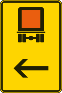 Verkehrszeichen 422-12 StVO, Wegweiser für kennzeichnungspflichtige Fahrzeuge mit gefährlichen Gütern (hier links) (Maße/Folie/Form:  <b>630x420mm</b>/RA1/Flachform 2mm (Art.Nr.: 422-12-111))