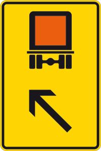 Verkehrszeichen 422-13 StVO, Wegweiser für kennzeichnungspflichtige Fahrzeuge mit gefährlichen Gütern (links einordnen) (Maße/Folie/Form:  <b>630x420mm</b>/RA1/Flachform 2mm (Art.Nr.: 422-13-111))