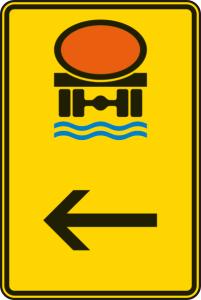 Verkehrszeichen 422-14 StVO, Wegweiser für Fahrzeuge mit wassergefährdender Ladung (hier links) (Maße/Folie/Form:  <b>630x420mm</b>/RA1/Flachform 2mm (Art.Nr.: 422-14-111))