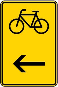 Verkehrszeichen 422-16 StVO, Wegweiser für Radverkehr hier links (Maße/Folie/Form:  <b>630x420mm</b>/RA1/Flachform 2mm (Art.Nr.: 422-16-111))