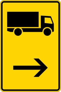 Verkehrszeichen 422-20 StVO, Wegweiser für KFZ m. einer zul. Gesamtmasse über 3,5 t (hier re.) (Maße/Folie/Form:  <b>630x420mm</b>/RA1/Flachform 2mm (Art.Nr.: 422-20-111))