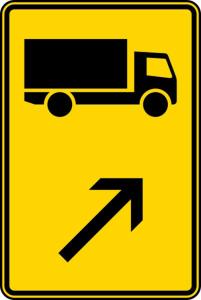 Verkehrszeichen 422-21 StVO, Wegweiser für KFZ m. einer zul. Gesamtmasse über 3,5 t (rechts einordnen) (Maße/Folie/Form:  <b>630x420mm</b>/RA1/Flachform 2mm (Art.Nr.: 422-21-111))