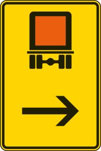 Verkehrszeichen 422-22 StVO, Wegweiser für kennzeichnungspflichtige Fahrzeuge mit gefährlichen Gütern (hier rechts) (Maße/Folie/Form:  <b>630x420mm</b>/RA1/Flachform 2mm (Art.Nr.: 422-22-111))
