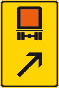 Verkehrszeichen 422-23 StVO, Wegweiser für kennzeichnungspflichtige Fahrzeuge mit gefährlichen Gütern (rechts einordnen) (Maße/Folie/Form:  <b>630x420mm</b>/RA1/Flachform 2mm (Art.Nr.: 422-23-111))