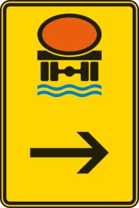 Verkehrszeichen 422-24 StVO, Wegweiser für Fahrzeuge mit wassergefährdender Ladung (hier rechts) (Maße/Folie/Form:  <b>630x420mm</b>/RA1/Flachform 2mm (Art.Nr.: 422-24-111))