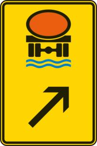Verkehrszeichen 422-25 StVO, Wegweiser für Fahrzeuge mit wassergefährdender Ladung (rechts) (Maße/Folie/Form:  <b>630x420mm</b>/RA1/Flachform 2mm (Art.Nr.: 422-25-111))