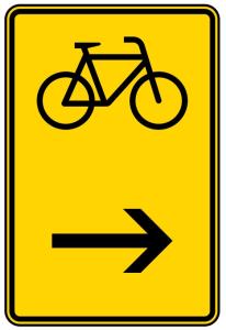 Verkehrszeichen 422-26 StVO, Wegweiser für Radverkehr hier rechts (Maße/Folie/Form:  <b>630x420mm</b>/RA1/Flachform 2mm (Art.Nr.: 422-26-111))