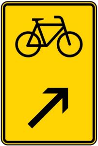 Verkehrszeichen 422-27 StVO, Wegweiser für Radverkehr rechts einordnen (Maße/Folie/Form:  <b>630x420mm</b>/RA1/Flachform 2mm (Art.Nr.: 422-27-111))