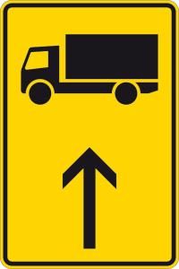 Verkehrszeichen 422-30 StVO, Wegweiser für KFZ m. einer zul. Gesamtmasse über 3,5t (geradeaus) (Maße/Folie/Form:  <b>630x420mm</b>/RA1/Flachform 2mm (Art.Nr.: 422-30-111))