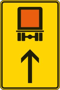 Verkehrszeichen 422-32 StVO, Wegweiser für kennzeichnungspflichtige Fahrzeuge mit gefährlichen Gütern (geradeaus) (Maße/Folie/Form:  <b>630x420mm</b>/RA1/Flachform 2mm (Art.Nr.: 422-32-111))