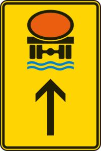 Verkehrszeichen 422-34 StVO, Wegweiser für Fahrzeuge mit wassergefährdender Ladung (geradeaus) (Maße/Folie/Form:  <b>630x420mm</b>/RA1/Flachform 2mm (Art.Nr.: 422-34-111))