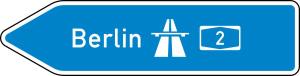 Verkehrszeichen 430-10 StVO, Pfeilwegweiser zur Autobahn, linksweisend, Höhe 350 mm, einseitig, Schrifthöhe 105 mm, einzeilig (Länge/Folie/Form:  <b>1250mm</b>/RA1/Flachform 2mm (Art.Nr.: 430-10-1-111))