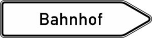 Verkehrszeichen 432-20 StVO, Pfeilwegweiser zu Zielen mit erheblicher Verkehrsbedeutung, rechtsweisend, Höhe 450 mm, einseitig, Schrifthöhe 140 mm, einzeilig (Länge/Folie/Form:  <b>1500mm</b>/RA1/Flachform 2mm (Art.Nr.: 432-20-3-311))