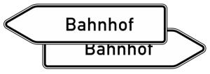 Verkehrszeichen 432-40 StVO, Pfeilwegweiser zu Zielen mit erheblicher Verkehrsbedeutung, doppelseitig, Höhe 500 mm, Schrifthöhe 126 mm, zweizeilig (Länge/Folie/Form:  <b>1750mm</b>/RA1/Flachform 2mm (Art.Nr.: 432-40-5-411))