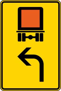 Verkehrszeichen 442-11 StVO, Vorwegweiser für kennzeichnungspflichtige Fahrzeuge mit gefährlichen Gütern (linksweisend) (Maße/Folie/Form:  <b>630x420mm</b>/RA1/Flachform 2mm (Art.Nr.: 442-11-111))