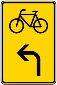 Verkehrszeichen 442-13 StVO, Vorwegweiser für Radverkehr linksweisend (Maße/Folie/Form:  <b>630x420mm</b>/RA1/Flachform 2mm (Art.Nr.: 442-13-111))