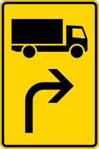 Verkehrszeichen 442-20 StVO, Vorwegweiser für KFZ mit einer zul. Gesamtmasse über 3,5 t, rechtsweisend (Maße/Folie/Form:  <b>630x420mm</b>/RA1/Flachform 2mm (Art.Nr.: 442-20-111))