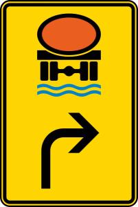 Verkehrszeichen 442-22 StVO, Vorwegweiser für Fahrzeuge mit wassergefähr... (rechtsweisend) (Maße/Folie/Form:  <b>630x420mm</b>/RA1/Flachform 2mm (Art.Nr.: 442-22-111))