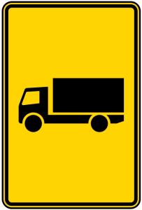 Verkehrszeichen 442-50 StVO, Vorwegweiser für KFZ mit zulässigen Gesamtmasse über 3,5 t (Maße/Folie/Form:  <b>630x420mm</b>/RA1/Flachform 2mm (Art.Nr.: 442-50-111))