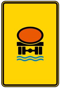 Verkehrszeichen 442-52 StVO, Vorwegweiser für Fahrzeuge mit wassergefährdender Ladung (Maße/Folie/Form:  <b>630x420mm</b>/RA1/Flachform 2mm (Art.Nr.: 442-52-111))