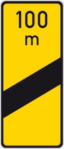 Verkehrszeichen 450-53 StVO, Ankündigungsbake, einstreifig, gelb (Form/Folie: Flachform 3mm/RA1 (Art.Nr.: 450-53-113))