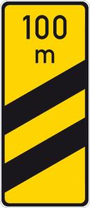 Verkehrszeichen 450-54 StVO, Ankündigungsbake, zweistreifig, gelb (Form/Folie: Flachform 3mm/RA1 (Art.Nr.: 450-54-113))