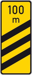 Verkehrszeichen 450-55 StVO, Ankündigungsbake, dreistreifig, gelb (Form/Folie: Flachform 3mm/RA1 (Art.Nr.: 450-55-113))