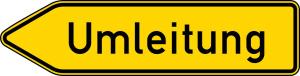 Verkehrszeichen 454-10 StVO, Umleitungswegweiser, einseitig, linksweisend (Folie/Form: RA1/Flachform 2mm (Art.Nr.: 454-10-111))