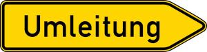 Verkehrszeichen 454-20 StVO, Umleitungswegweiser, einseitig, rechtsweisend (Folie/Form: RA1/Flachform 2mm (Art.Nr.: 454-20-111))