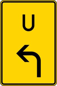 Verkehrszeichen 455.1-10 StVO, Ankündigung oder Fortsetzung der Umleitung, Vorankündigung li. (Maße/Folie/Form:  <b>630x420mm</b>/RA1/Flachform 2mm (Art.Nr.: 455.1-10-111))