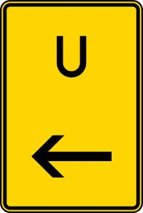 Verkehrszeichen 455.1-11 StVO, Ankündigung oder Fortsetzung der Umleitung, hier links (Maße/Folie/Form:  <b>630x420mm</b>/RA1/Flachform 2mm (Art.Nr.: 455.1-11-111))