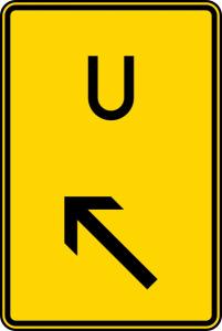 Verkehrszeichen 455.1-12 StVO, Ankündigung oder Forsetzung der Umleitung, links einordnen (Maße/Folie/Form:  <b>630x420mm</b>/RA1/Flachform 2mm (Art.Nr.: 455.1-12-111))