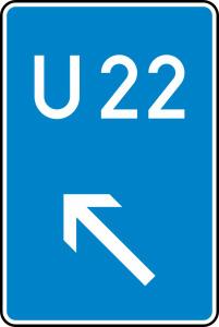 Verkehrszeichen 460-12 StVO, Bedarfsumleitung, links einordnen (Maße/Folie/Form:  <b>630x420mm</b>/RA1/Flachform 2mm (Art.Nr.: 460-12-111))