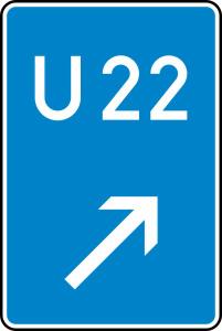 Verkehrszeichen 460-22 StVO, Bedarfsumleitung, rechts einordnen (Maße/Folie/Form:  <b>630x420mm</b>/RA1/Flachform 2mm (Art.Nr.: 460-22-111))