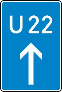 Verkehrszeichen 460-30 StVO, Bedarfsumleitung, geradeaus (Maße/Folie/Form:  <b>630x420mm</b>/RA1/Flachform 2mm (Art.Nr.: 460-30-111))