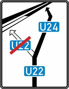 Verkehrszeichen 466 StVO, Weiterführende Bedarfsumleitungstafel (Folie/Form: RA1/Flachform 3mm (Art.Nr.: 466-113))