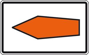 Verkehrszeichen 467.1-10 StVO, Umlenkungspfeil (Streckenempfehlung), linksweisend (Maße/Folie/Form:  <b>160x2500mm</b>/RA1/Alform  (Art.Nr.: 467.1-10-312))