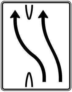 Verkehrszeichen 501-13 StVO, Überleitungstafel (Folie/Entfernungsangabe/Maße(HxB): RA1/Flachform 2mm<br> <b>ohne Entfernungsangabe</b><br>1600x1250mm (Art.Nr.: 501-13-111))