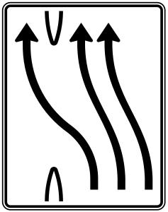 Verkehrszeichen 501-14 StVO, Überleitungstafel (Folie/Entfernungsangabe/Maße(HxB): RA1/Flachform 2mm<br> <b>ohne Entfernungsangabe</b><br>1600x1250mm (Art.Nr.: 501-14-111))