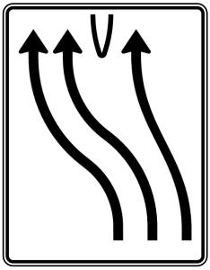 Verkehrszeichen 501-15 StVO, Überleitungstafel (Folie/Entfernungsangabe/Maße(HxB): RA1/Flachform 2mm<br> <b>ohne Entfernungsangabe</b><br>1600x1250mm (Art.Nr.: 501-15-111))
