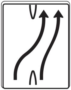 Verkehrszeichen 501-23 StVO, Überleitungstafel (Folie/Entfernungsangabe/Maße(HxB): RA1/Flachform 2mm<br> <b>ohne Entfernungsangabe</b><br>1600x1250mm (Art.Nr.: 501-23-111))