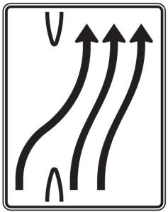 Verkehrszeichen 501-24 StVO, Überleitungstafel (Folie/Entfernungsangabe/Maße(HxB): RA1/Flachform 2mm<br> <b>ohne Entfernungsangabe</b><br>1600x1250mm (Art.Nr.: 501-24-111))