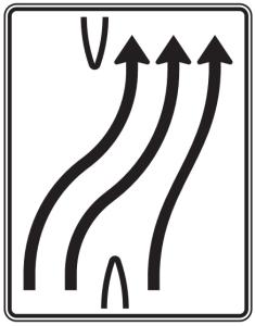 Verkehrszeichen 501-25 StVO, Überleitungstafel (Folie/Entfernungsangabe/Maße(HxB): RA1/Flachform 2mm<br> <b>ohne Entfernungsangabe</b><br>1600x1250mm (Art.Nr.: 501-25-111))