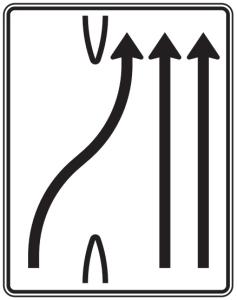 Verkehrszeichen 501-27 StVO, Überleitungstafel (Folie/Entfernungsangabe/Maße(HxB): RA1/Flachform 2mm<br> <b>ohne Entfernungsangabe</b><br>1600x1250mm (Art.Nr.: 501-27-111))