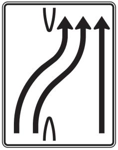 Verkehrszeichen 501-28 StVO, Überleitungstafel (Folie/Entfernungsangabe/Maße(HxB): RA1/Flachform 2mm<br> <b>ohne Entfernungsangabe</b><br>1600x1250mm (Art.Nr.: 501-28-111))