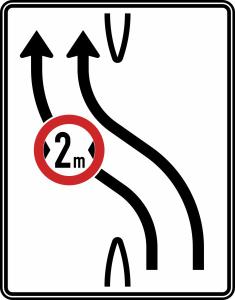 Verkehrszeichen 505-11 StVO, Überleitungstafel ohne Gegenverkehr, zweistreifig nach links, Nr. 505-11 (Folie/Entfernungsangabe/Maße(HxB): RA1/Flachform 2mm<br> <b>ohne Entfernungsangabe</b><br>1600x1250mm (Art.Nr.: 505-11-111))