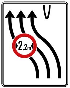 Verkehrszeichen 505-12 StVO, Überleitungstafel ohne Gegenverkehr, dreistreifig nach links (Folie/Entfernungsangabe/Maße(HxB): RA1/Flachform 2mm<br> <b>ohne Entfernungsangabe</b><br>1600x1250mm (Art.Nr.: 505-12-111))